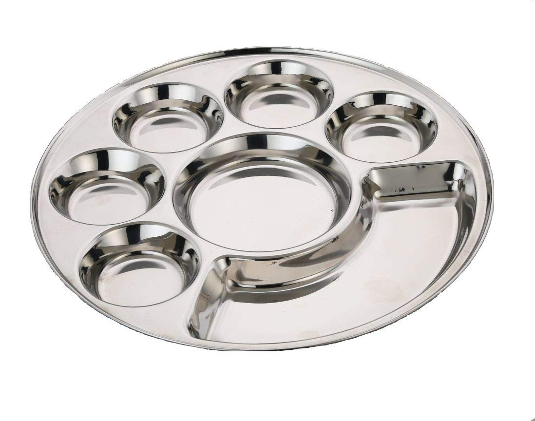 Expresso Indian Heavy Duty Stainless Steel BPA Free Round Dinner Plate w/ 7 Sections Divided Mess Trays for Kids, Toddler Lunch, Camping, Events & Every Day Use Kitchenware