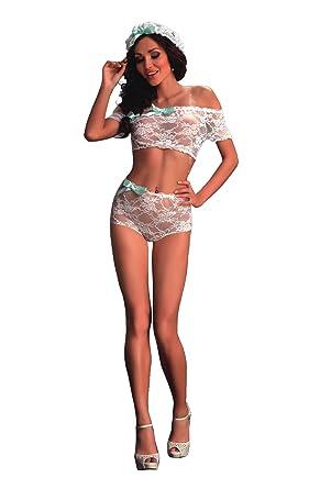 dce70b4886 Sexy White bridal bra set pretty lace short sleeve bra top beautiful lace  knickers lovely mint
