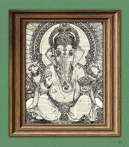 GANESHA Hindu Elephant God Ganesh print over an upcycled vintage dictionary page book ()