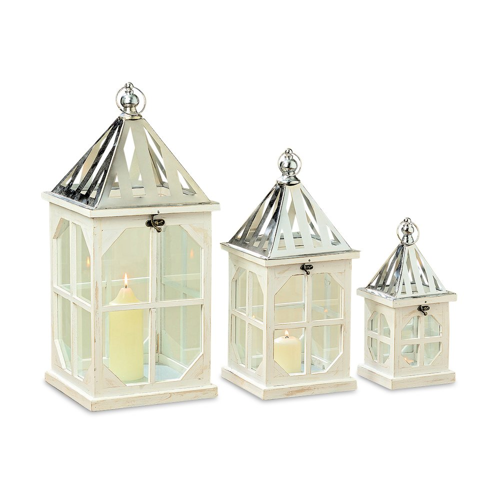 WHW Whole House Worlds Crosby Street Cross Post Candle Lanterns, Set of 3, Silver Metal Slated Roof, Top Opening, Swing Latch, Hanging Loop, Solid Wood Construction, Glass, 24, 19, 13 Inches Tall