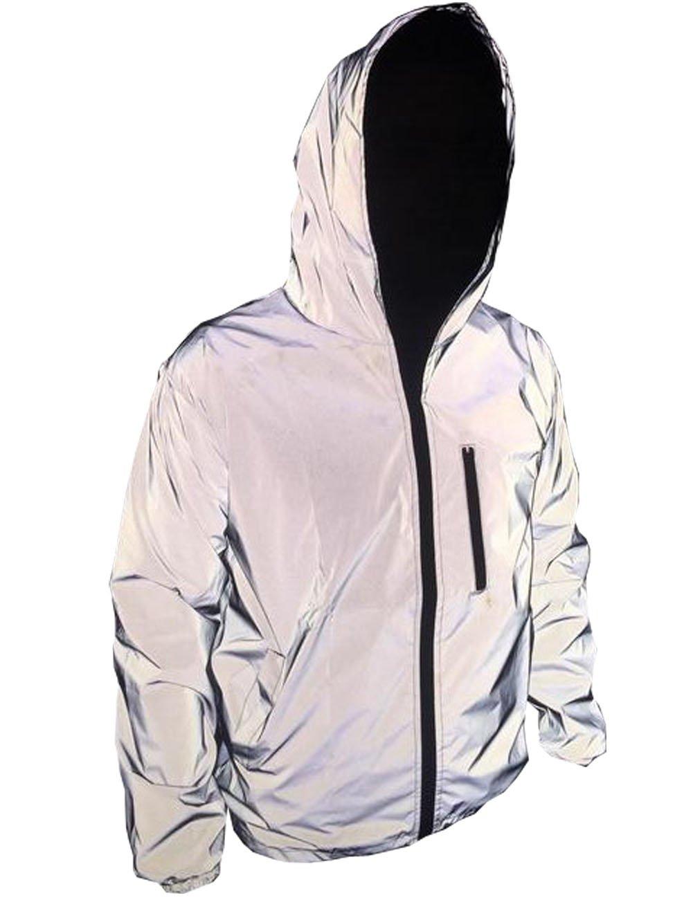 TR Mens 3M Super Bright Reflective Jacket Coat (Asian XL =US M, Grey)
