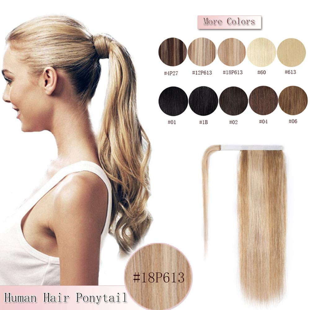 100% Remy Human Hair Ponytail Extension Wrap Around One Piece Hairpiece With Clip in Comb Binding Pony Tail Extension For Girl Lady Women Long Straight #18P613 Ash Blonde&Bleach Blonde 16'' 80g by Rich Choices