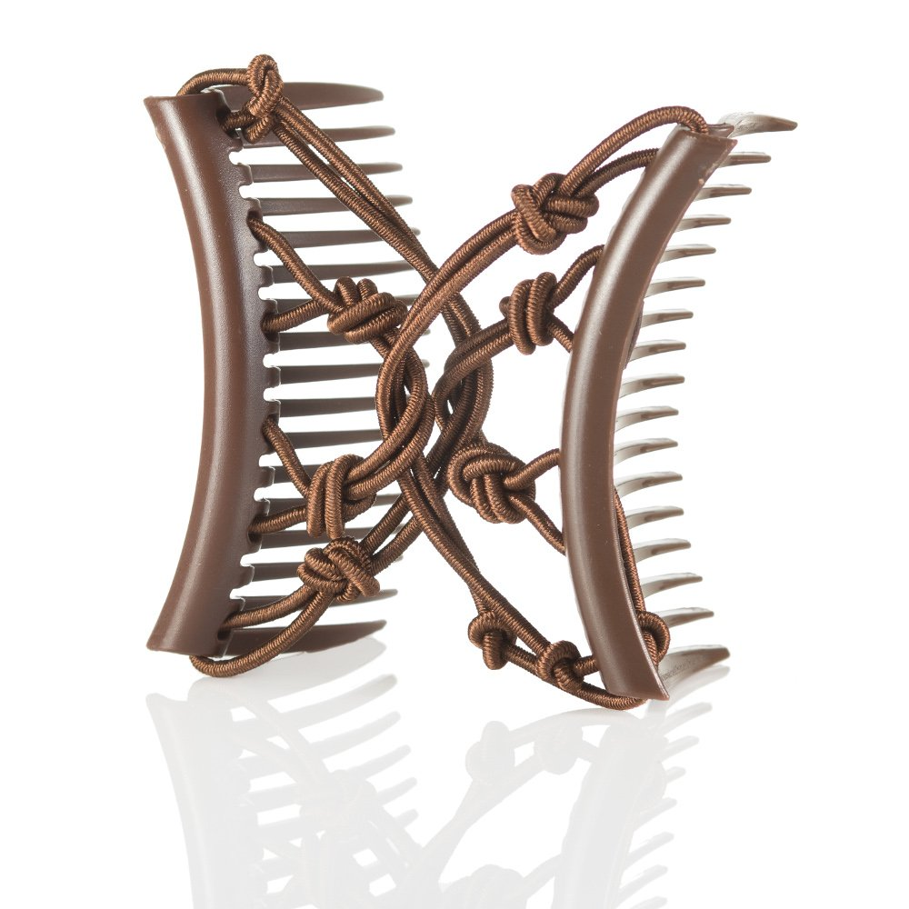 Double Elastic Hair Combs by HairZing - Clip for Thick, Curly, Kinky Hair - Put Your Hair Up in Seconds w/No Damage, Creases, or Pain - Comfy UpDo, Ponytail, French Twist, Bun (Pretzel Medium, Brown) by HairZing (Image #1)