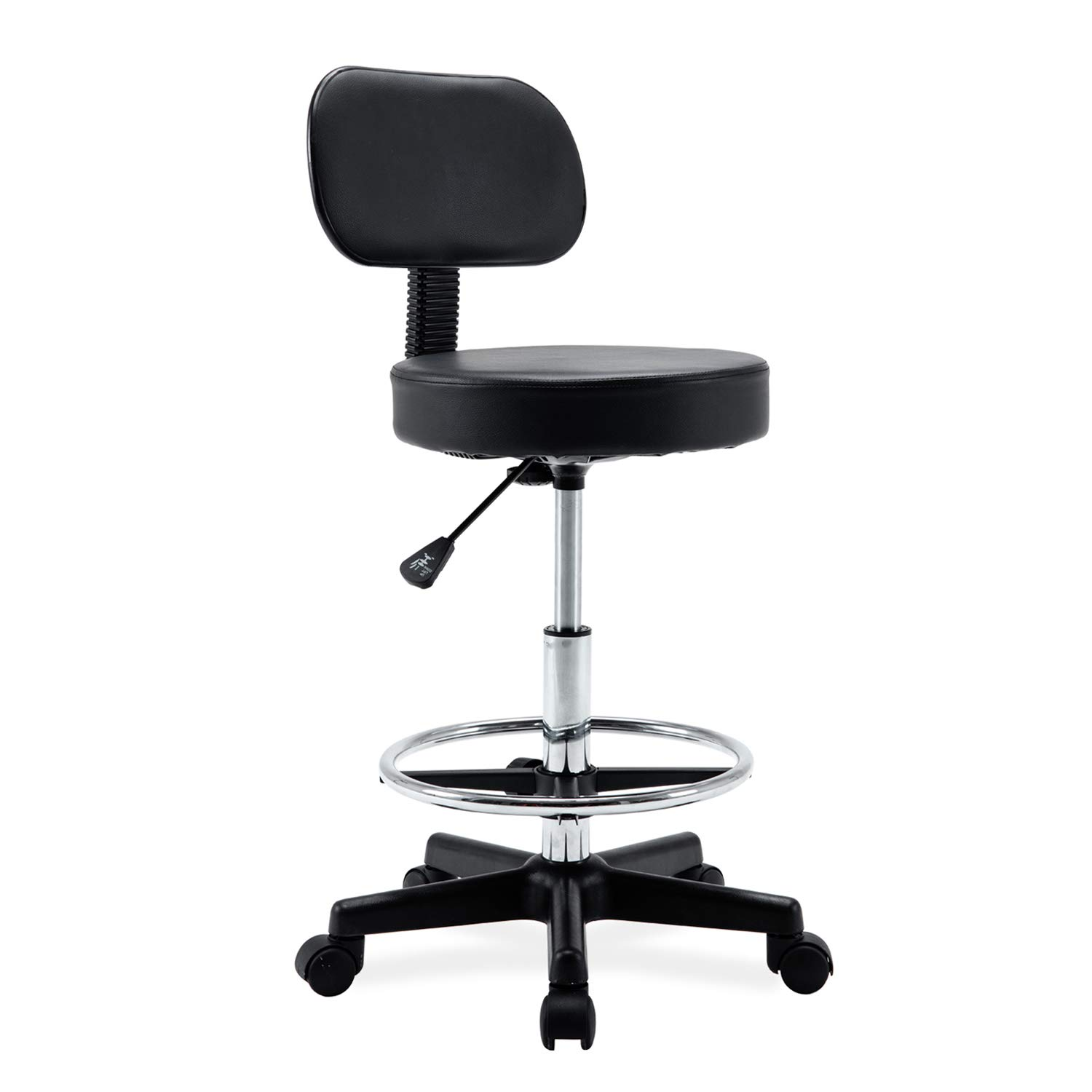 Ergonomic Drafting Stool- Adjustable Rolling Office Chair Work Stool with Back and Wheels for Home Office Workplace Studio Guitar Practice, seat Height 19.7-27.5'' ... by Wahson