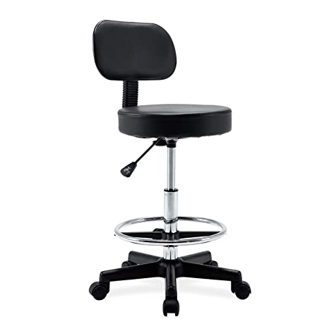 premium selection 8c971 9c1ac Ergonomic Drafting Stool- Adjustable Rolling Office Chair Work Stool with  Back and Wheels for Home Office Workplace Studio Guitar Practice, seat ...