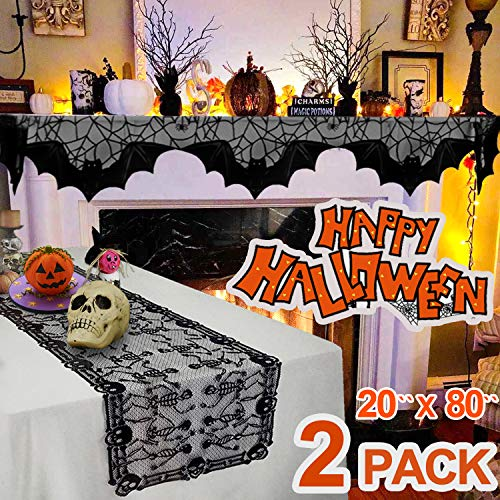 Spooky Halloween Dinner (2 Pack Halloween Decoration Lace Table Runner & Spider Web Bat Fireplace Scarf Cover, Cobweb Spooky Bat Fireplace Mantle Scarf Skull Table Cover for Dinner Party Festival Party Supplies (80