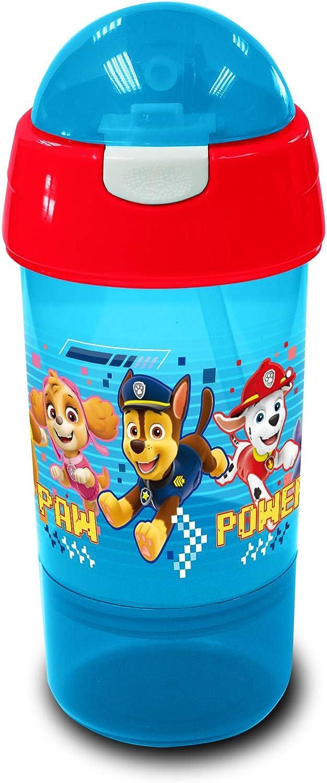 8,5 x 8,5 x 20 cm Paw Patrol Colore Rosso e Blu Borraccia per sorseggiare e Snack