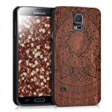 kwmobile Protective case for Samsung Galaxy S5 / S5 Neo / S5 LTE+ / S5 Duos with cork cover and pockets – hardcase in dark brown