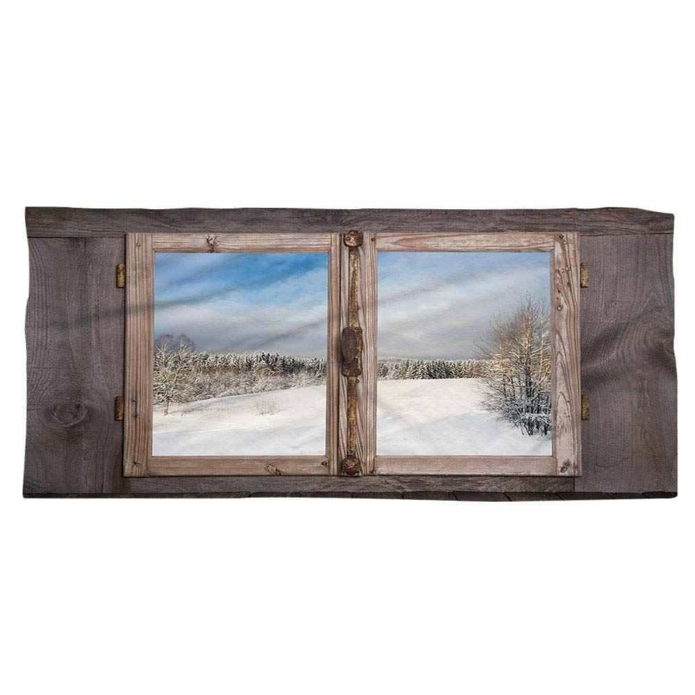 iPrint Large Cotton Microfiber Beach Towel,Rustic,Winter Season Scene from a Wooden Window of Country House Snow Vintage Design,Umber White Blue,for Kids, Teens, and Adults