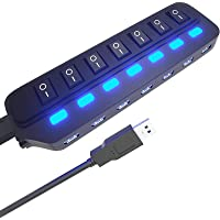 USB Hub 3.0 Splitter,7 Port USB Data Hub with Individual On/Off Switches and Lights for Laptop, PC, Computer, Mobile HDD…