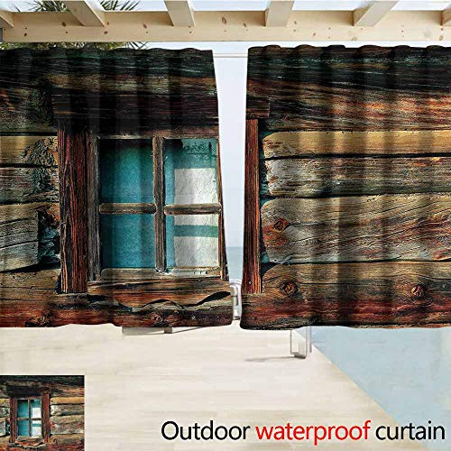 MaryMunger Rod Pocket Top Blackout Curtains/Drapes Scenery Wooden Pattern Window Simple Stylish Waterproof W55x45L Inches
