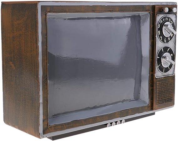 THREESS Arte de imitación Antiguo Arte de Hierro TV Modelo de televisión Decoración del hogar Adornos de Dormitorio Foto Prop, A 34 x 20 x 24 cm: Amazon.es: Hogar