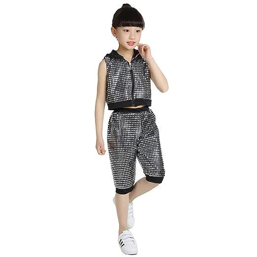c2ec66692770 Amazon.com  LOLANTA Girls Sleeveless Sequins Jazz Hip Hop Costume ...