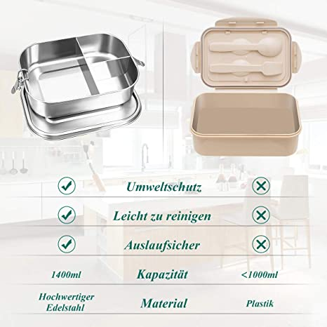 Baban Lunch Box 1400 ML,3 Cajas de Acero Inoxidable
