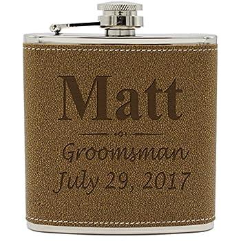Custom Engraved Brown Groomsman Flask - Personalized Groomsmen Gifts - 3 Lines Style - Brown Leather