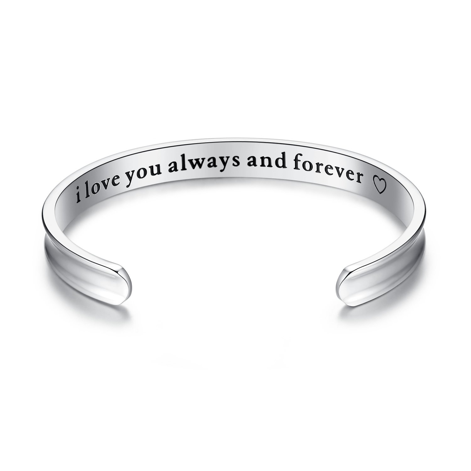 b5ada29b0eaf  I love you always and forever  grooved bracelet. material 316L stainless  steel. 2 colors  silver