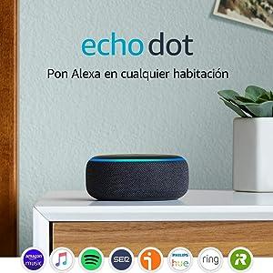 Echo Dot (3.ª generación) - Altavoz inteligente con Alexa, tela de color antracita