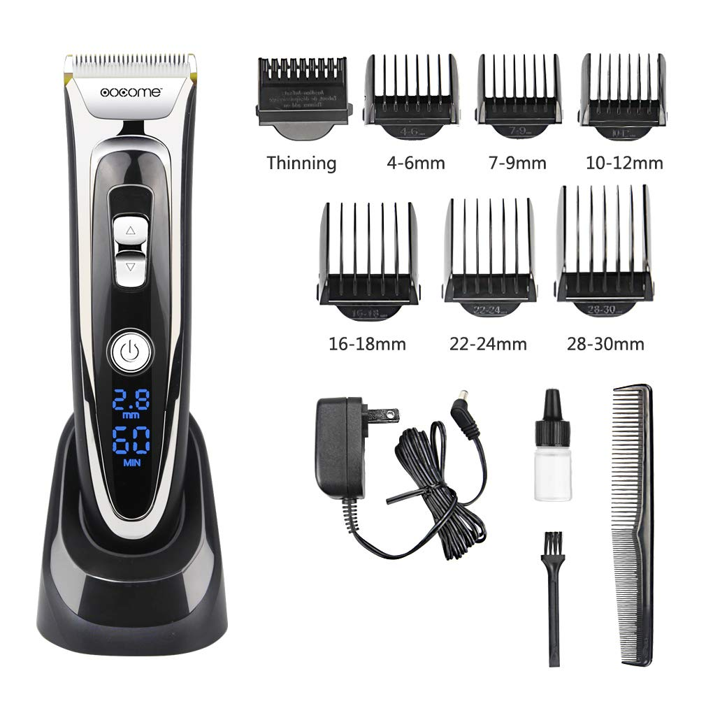 OOCOME Professional Hair Clippers Kit for Men Cordless Hair Clippers for Kids Rechargeable Hair Trimmer Cutting Set Hair Removal Shaver LED Display Hair Razor Grooming Kits(13 pieces)