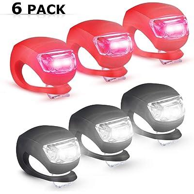 6 Pack luz de la Bicicleta luz Trasera de Bicicleta LED Luz de Seguridad Ciclismo Infantil Luz de Seguridad LED Silicona con batería de Repuesto Impermeable no Recargables