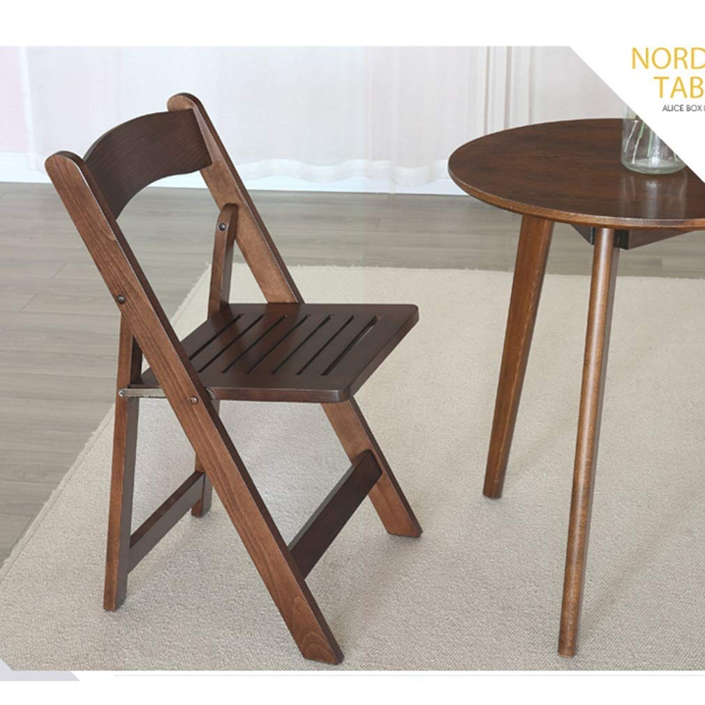WLG 2-teiliger Klappstuhl Holzstuhl Esszimmerstuhl Tragbarer Stuhl Stauraum Erwachsener Stuhl Stapelstuhl Kreatives Zuhause,Walnuss Farbe