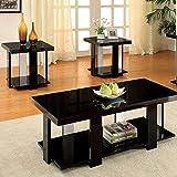 247SHOPATHOME IDF-4240BK-3PK Living-Room-Table-Sets, Black