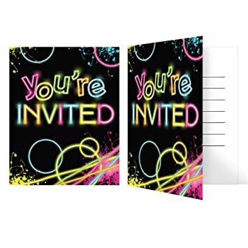 Amazoncom Glow Party Birthday Party Invitations 8 Count Toys