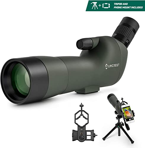 Amcrest Spotting Scope for Target Shooting w Tripod 20-60x60mm, Multi Coated Optical Lens, Waterproof, 36-19m 1000m, Telescope with Universal Smartphone Adapter AMSS60-G