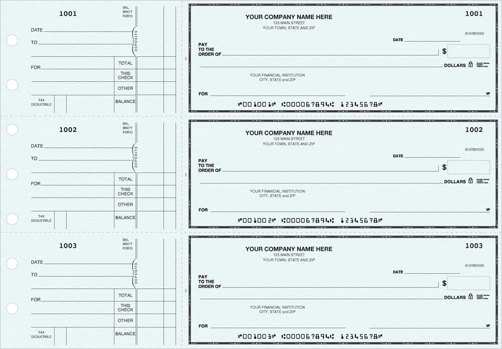 General Manual Business Checks, 3 to a Page Blue Multipurpose Checks, 250 Single Checks : Office Products