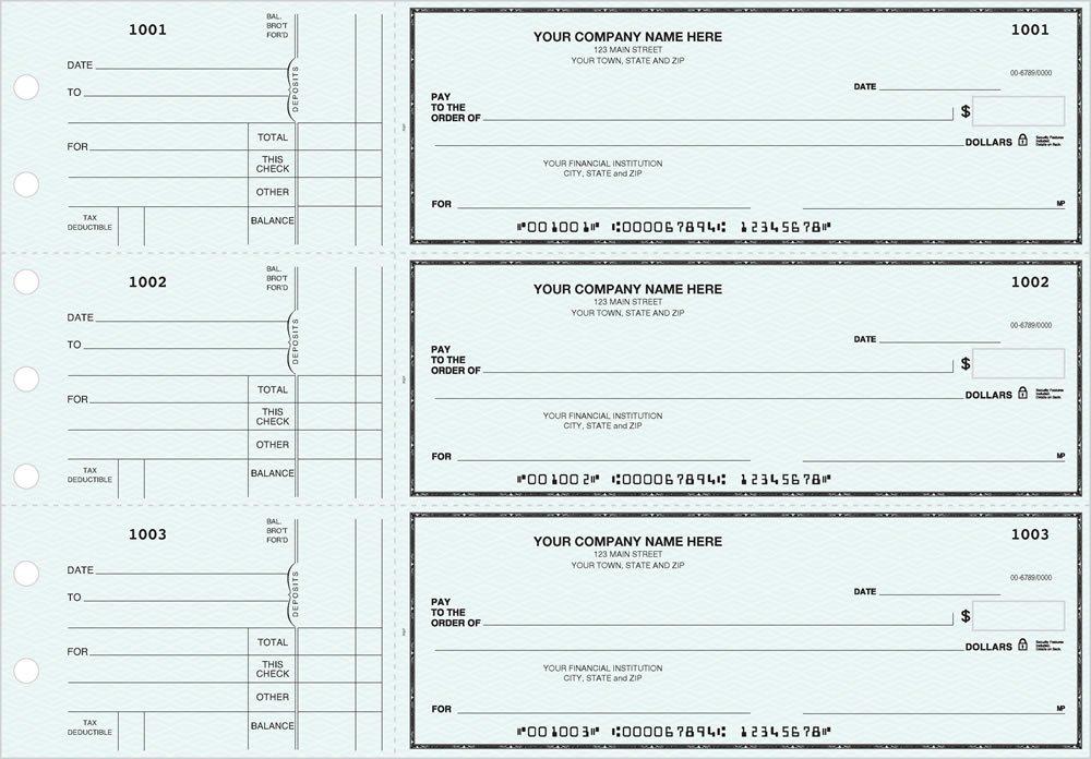 General Manual Business Checks, 3 to a Page Blue Multipurpose Checks, 1000 Single Checks by PrintEZ