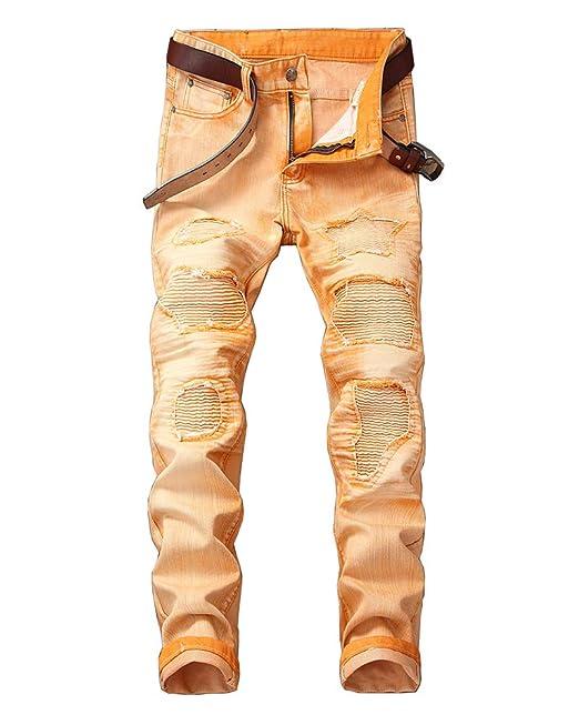 Pantalones Vaqueros Hombre Rotos Slim Fit Stretch Denim ...