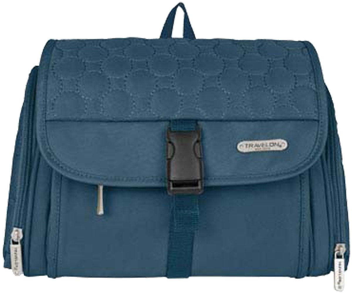 Travelon Hanging Toiletry Kit,One Size,Steel Blue Quilted