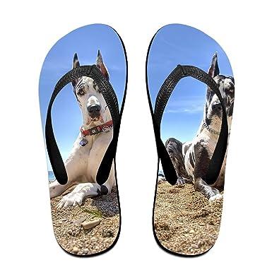 Couple Flip Flops Manchester Dogs Print Chic Sandals Slipper Rubber Non-Slip Spa Thong Slippers