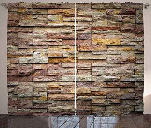 Marble Curtains by Ambesonne, Urban Brick Slate Stone Wall with Rocks Featured Facade Architecture Town Picture, Living Room Bedroom Window Drapes 2 Panel Set, 108 W X 84 L Inches, Multicolor (Brick Colored Curtains)
