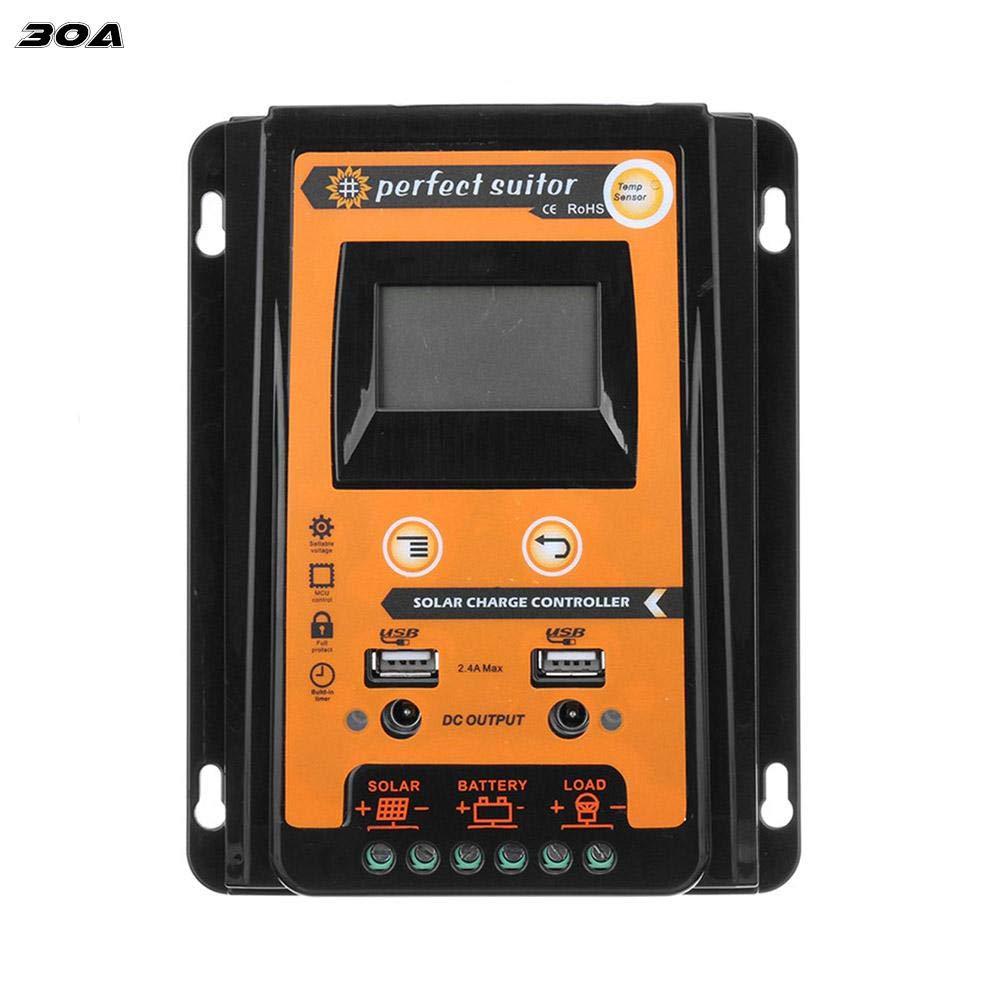 Controleur de Charge Solaire avec LCD Double USB Protection Contre Les Surintensités Régulateur Automatique