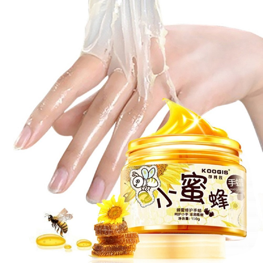 XY Fancy Hands Care Paraffin Milk & Honey Moisturizing Peel Off Hand Wax Mask Exfoliate Hydrating Exfoliating Nourish Whitening Hand Mask Skin Care 150g by XY Fancy (Image #1)
