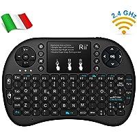 Rii Mini i8+ Wireless (Layout Italiano) - Mini Tastiera retroilluminata con Mouse touchpad per Smart TV, Mini PC, HTPC, Console, Computer - Colore Nero