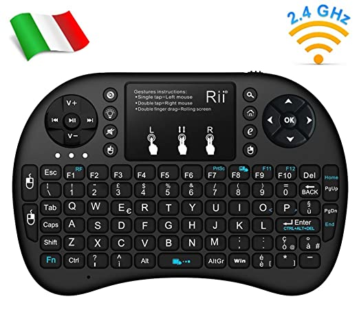 555 opinioni per Rii Mini i8+ Wireless (layout ITALIANO)- Mini tastiera retroilluminata con mouse