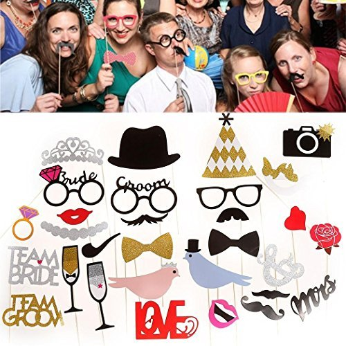Photo Booth Party Wedding Props On Stick Masks Mustache Glasses Lips Funny DIY