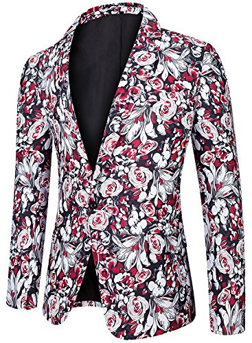 Fully Lined Tailored Blazer - Men's Regular Fit Casual One Button Blazer Jacket Summer Fitted Sports Suit Coat Floral A Large