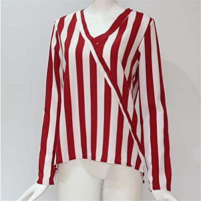 Flying Lisa Women Striped Blouse Shirt Long Sleeve Blouse V-Neck Shirts Casual Tops: Ropa y accesorios