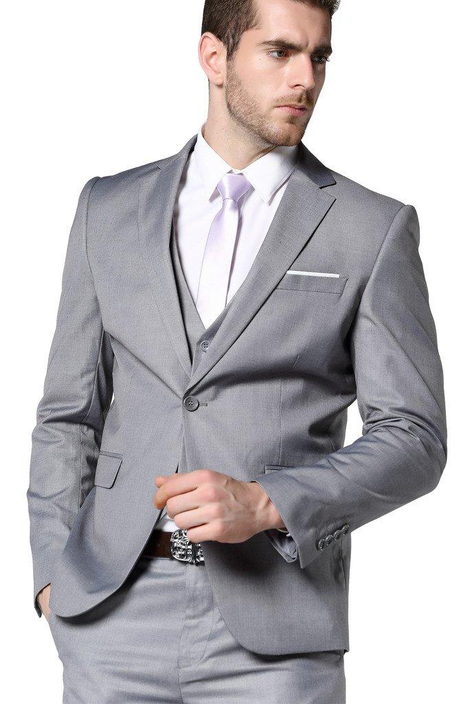 Men's Slim Fit 3 Piece Dress Suits Prom Dress Suit Set US Size 36 (Tag Asian Size XL) Light Gray