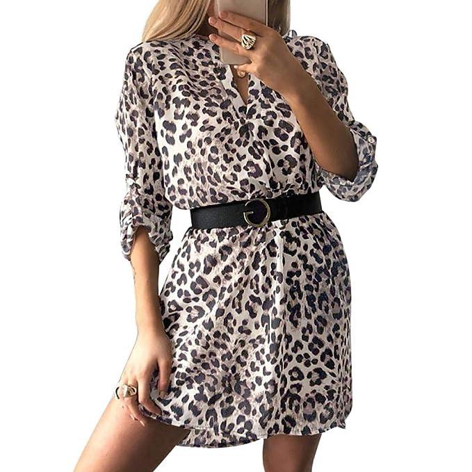 3d607d81b1b072 EFINNY Women s Leopard Snakeskin Zebra Geometric Printed Sexy V Neck Long  Sleeve Dress