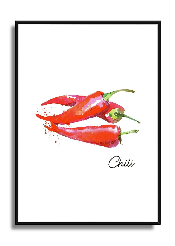 moderne Bild Deko f/ür die K/üche Wandbild Kunstdruck Poster CHILI im A4 Format