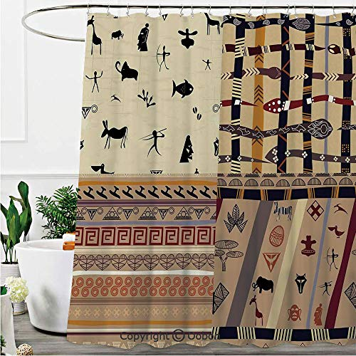 Oobon Shower Curtains, Hunting Animals in Wilderness Elephant Zebra Fish Snake Tribal Mask Patterns, Fabric Bathroom Decor Set with Hooks, 72 x 72 Inches