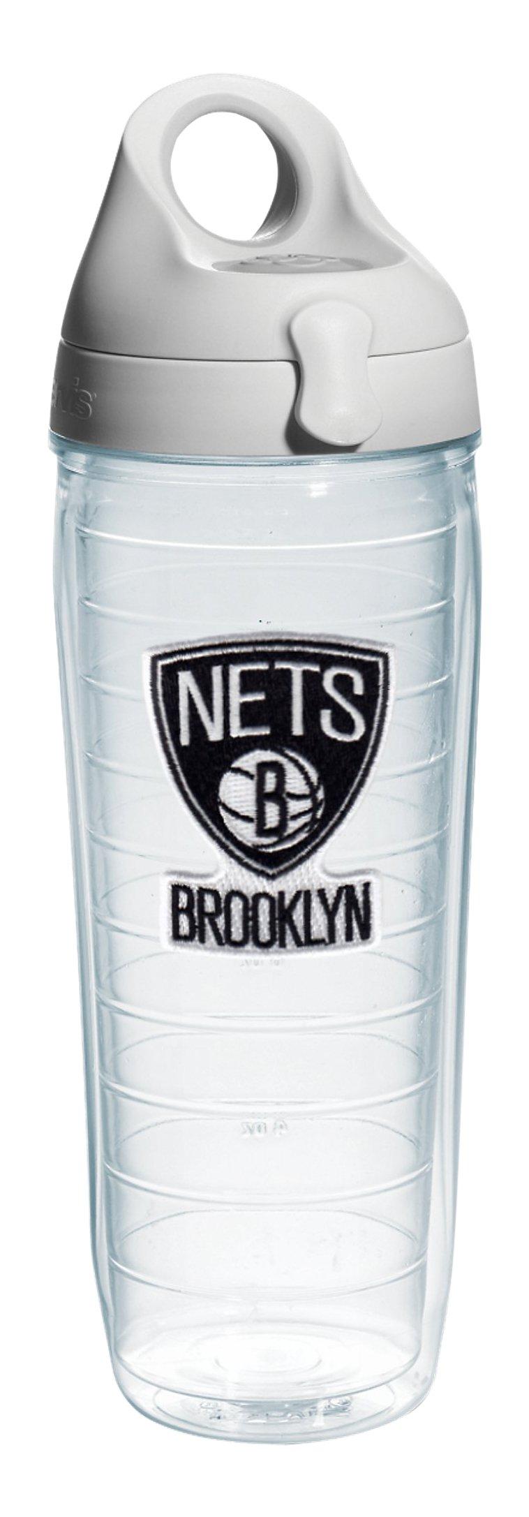 Tervis 1079881 ''NBA Brooklyn Nets'' Water Bottle with Grey Lid, Emblem, 24 oz, Clear