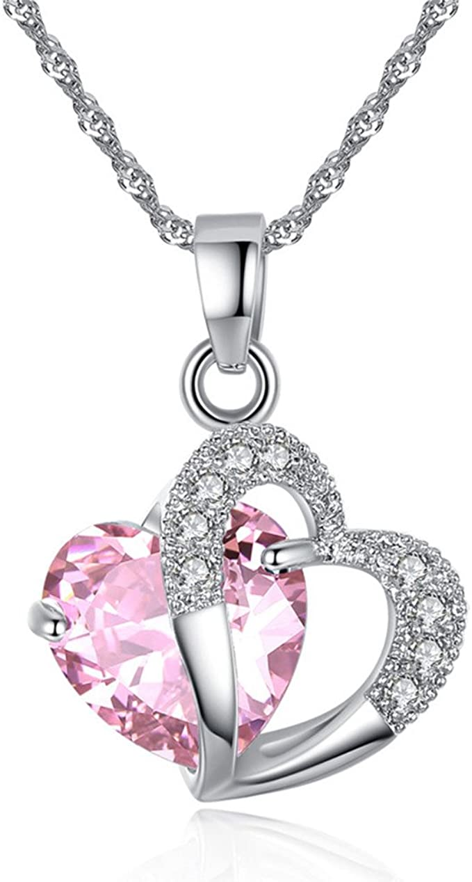 Intertwined Double Love Heart Pendant Necklace Rose Gold Plated with Austrian Crystal for Women