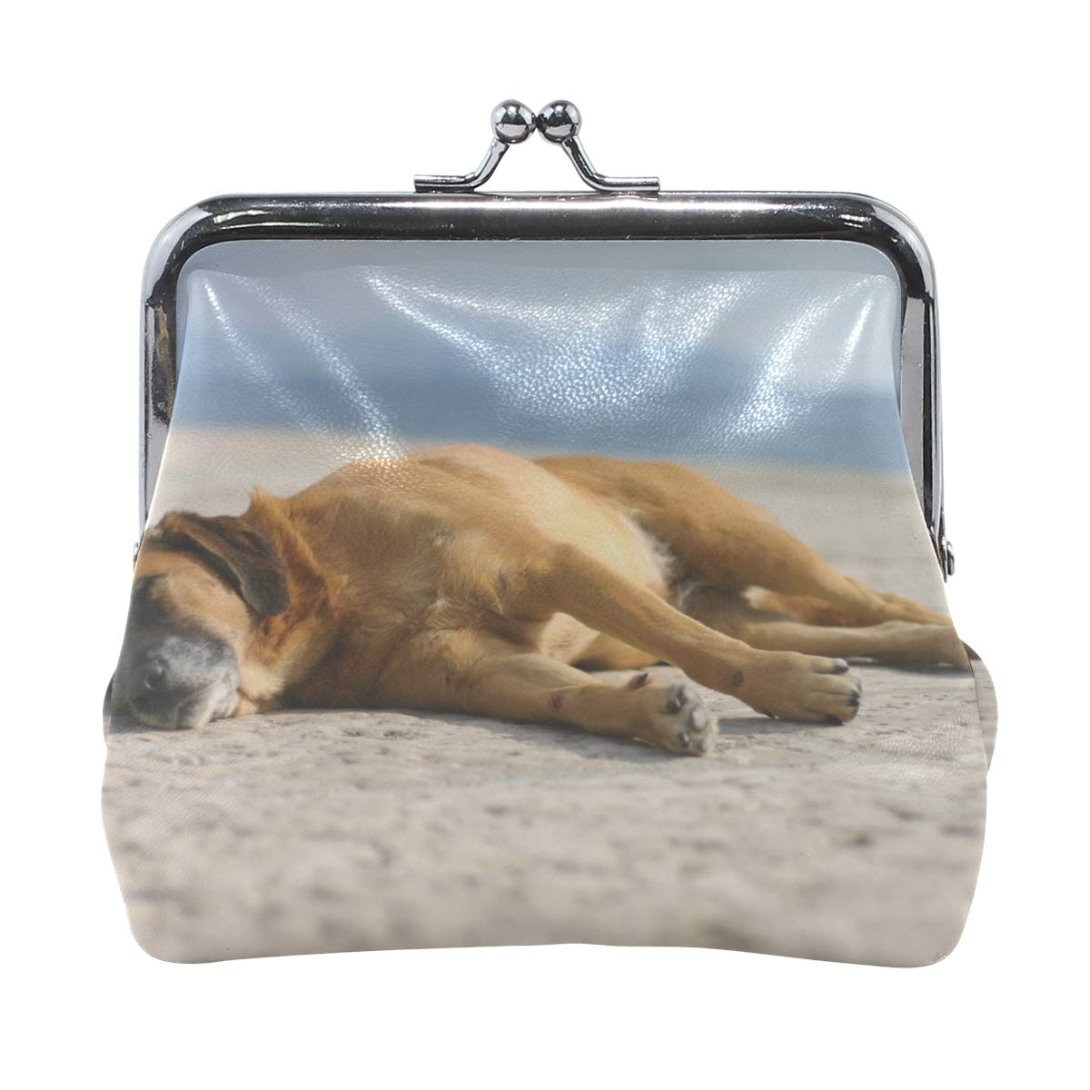 Rh Studio Coin Purse Clasp Closure Dogs Sleeping Sand Lie Print Wallet Exquisite Coin Pouch Girls Women Clutch Handbag Exquisite Gift