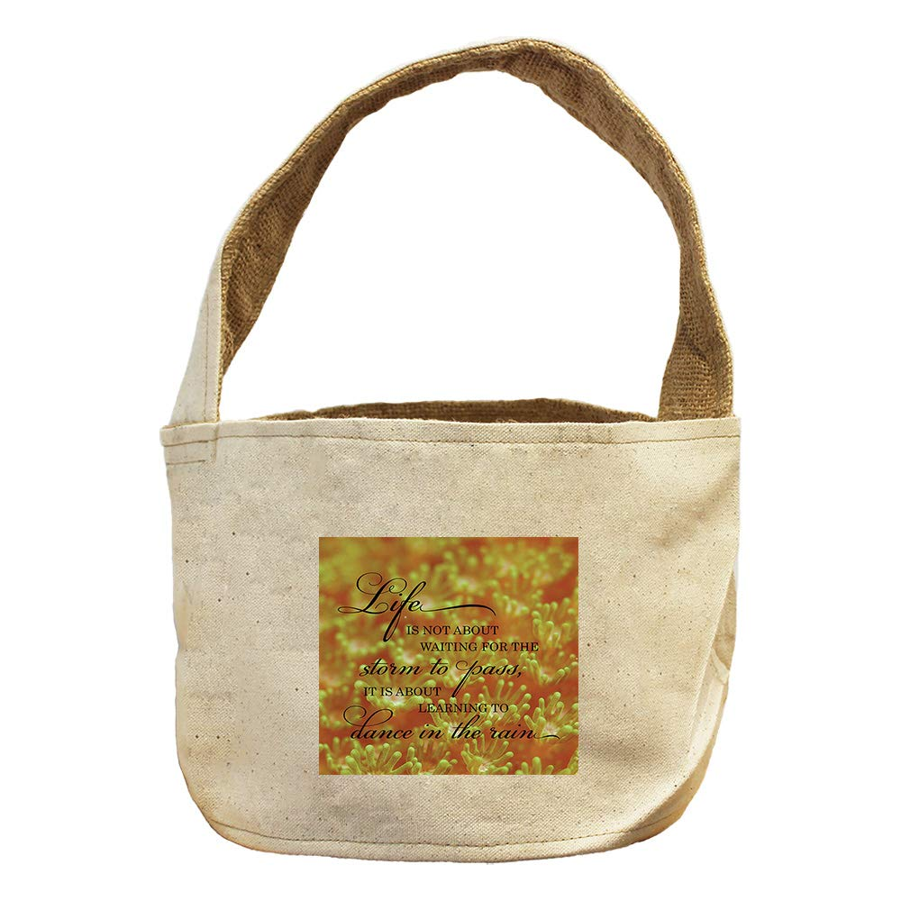 Life is About to Dance in The Rain #1 Canvas and Burlap Storage Basket
