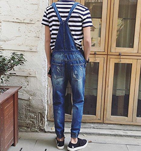 Denim Men's Pocket Slim Ripped Ankle Banded Overalls Size 29