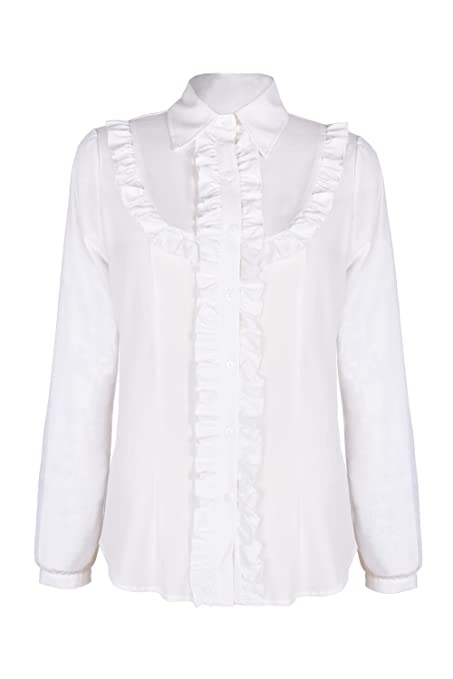 Shop 1960s Style Blouses, Shirts and Tops Ruffle Long Sleeve Shirts Blouse Tops $25.99 AT vintagedancer.com